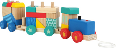 Wooden train sorting game with sound and light