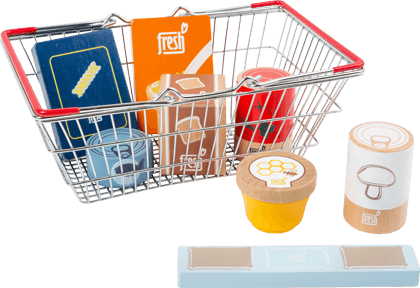 "Groceries Set in a Shopping Basket ""fresh"""